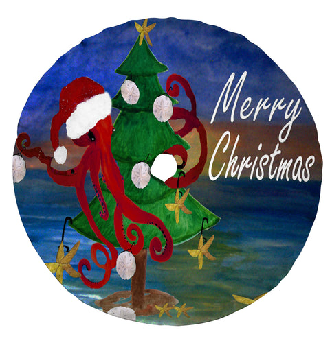 Santa octopus trim a tree beach Christmas tree skirt - Maremade Designs