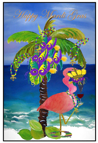 Mardi Gras crowned flamingo floor mat from my art. - Maremade Designs