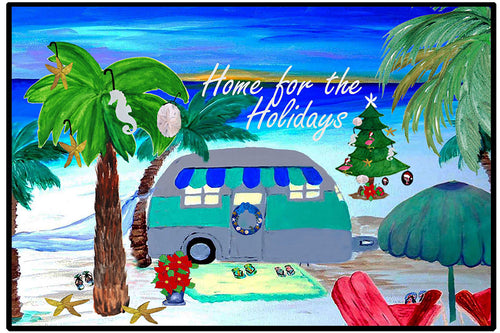 Air stream retro camper by the beach Christmas floor mat - Maremade Designs