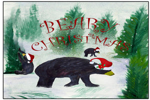 Beary black bear Christmas floor mat - Maremade Designs