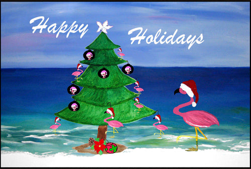 Santa flamingo coastal beach Happy Holidays - Maremade Designs