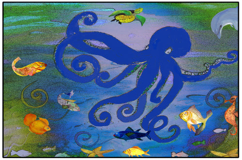 Blue octopus floor mat - Maremade Designs