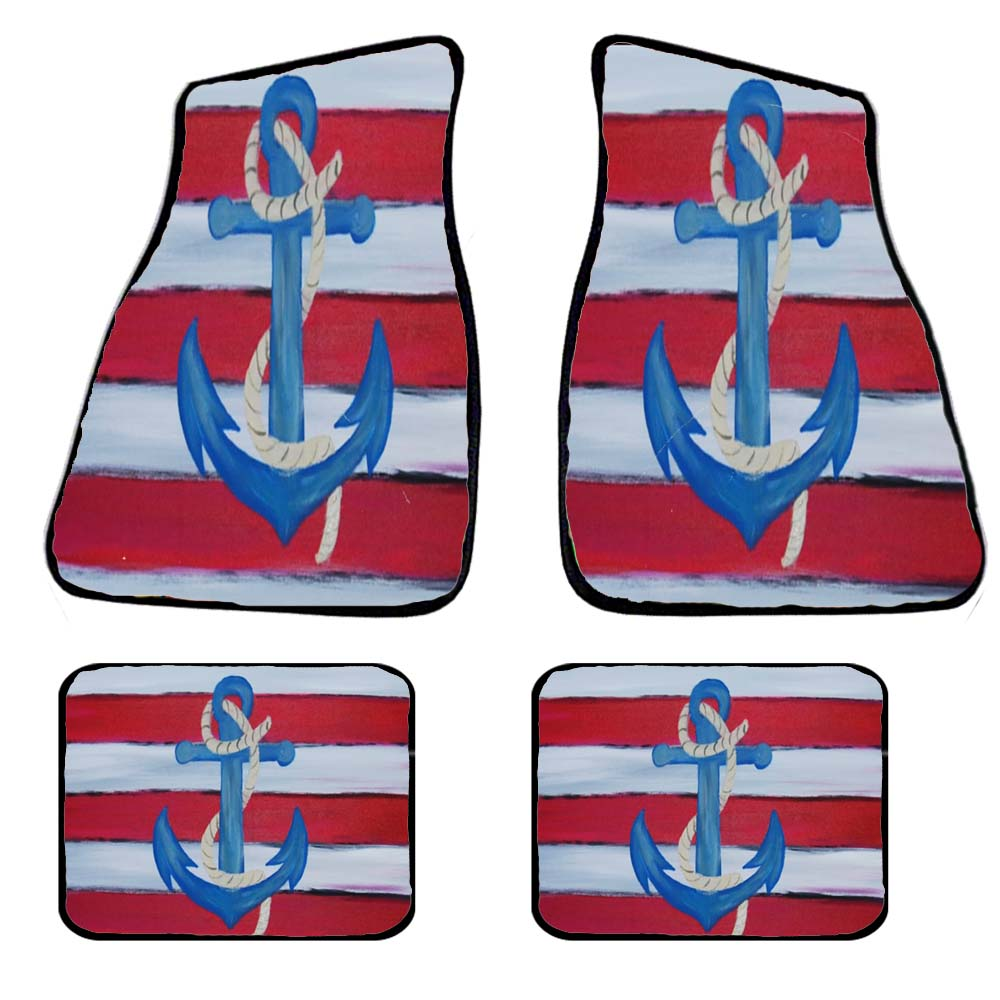 Nautical anchor car mats and coasters - Maremade Designs