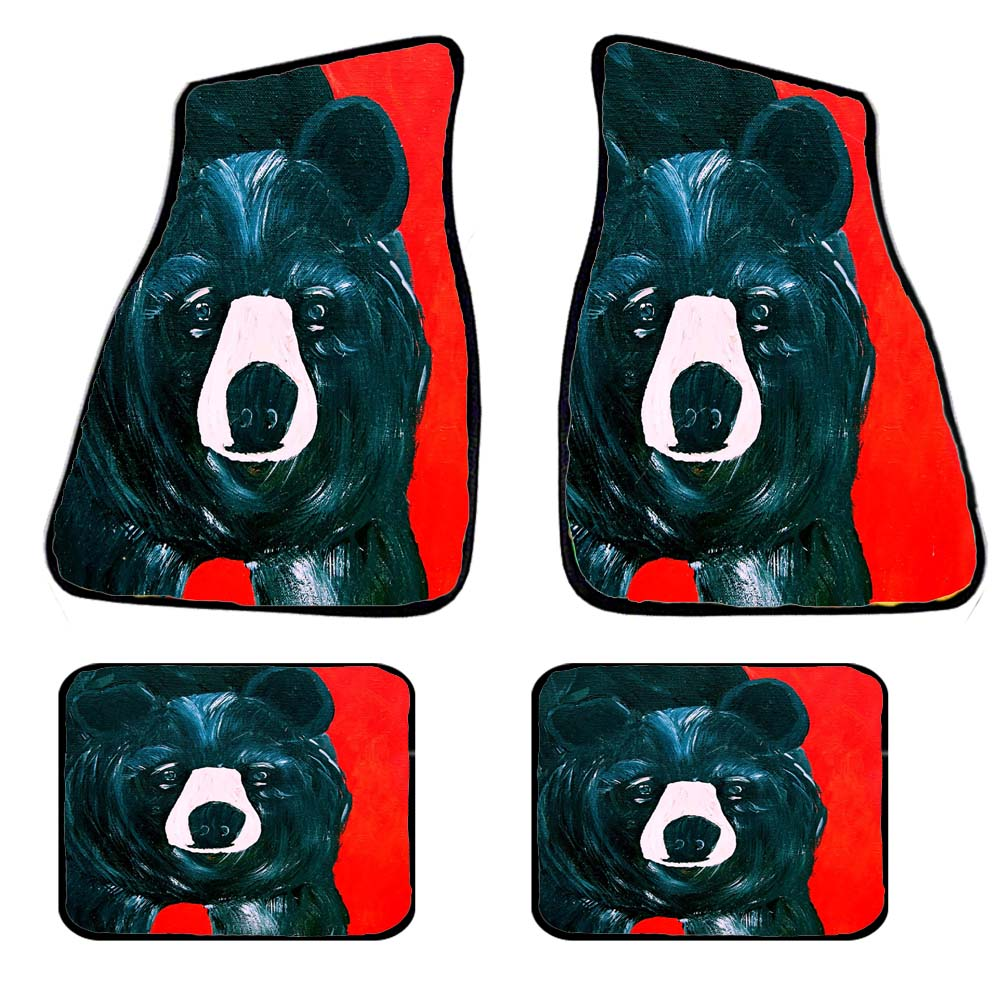 Black bear car mats and coasters - Maremade Designs
