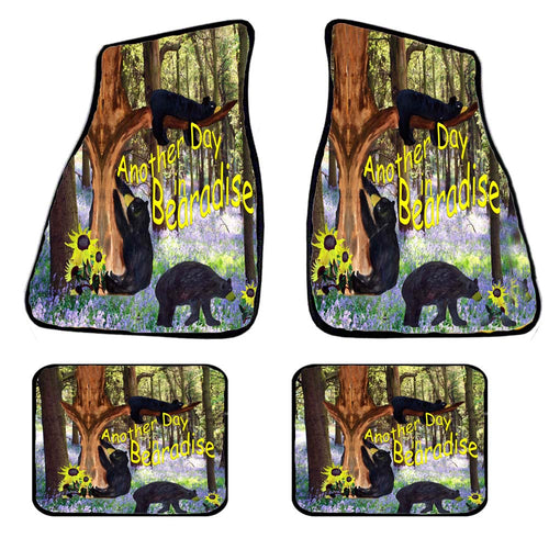 Bearadise black bear car mats and coasters - Maremade Designs