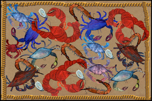 Seafood party coastal floor mat - Maremade Designs