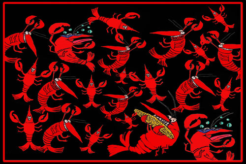Crawfish crayfish party coastal floor mat - Maremade Designs