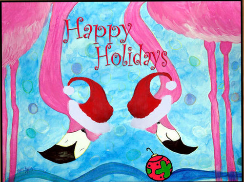 Santa flamingos Happy Holidays - Maremade Designs
