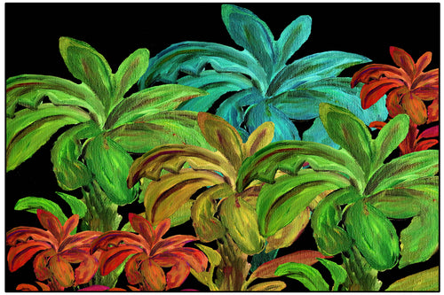 Banana palms colorful tropical palm tree floor mat - Maremade Designs