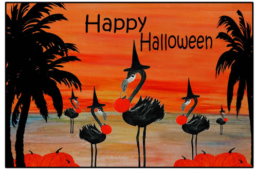 Flamingo Halloween witch in sunset - Maremade Designs