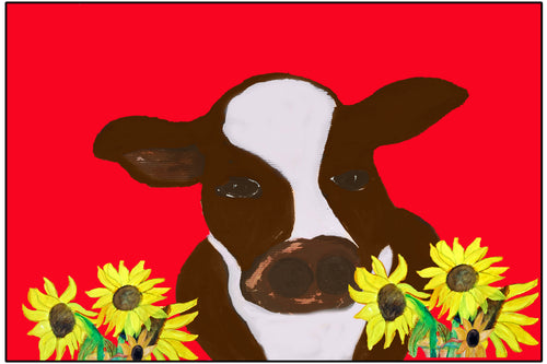 Cow and sunflowers in red field floor mat - Maremade Designs
