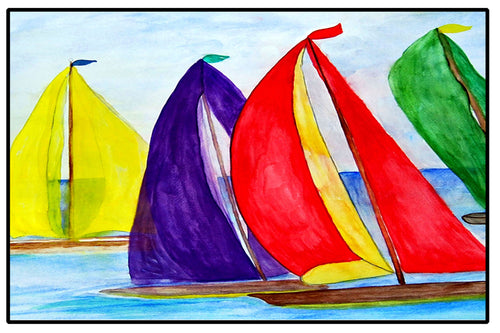 Colorful sails nautical coastal door floor mat from my art - Maremade Designs