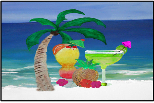 Tropical beach drinks tiki bar floor mat - Maremade Designs