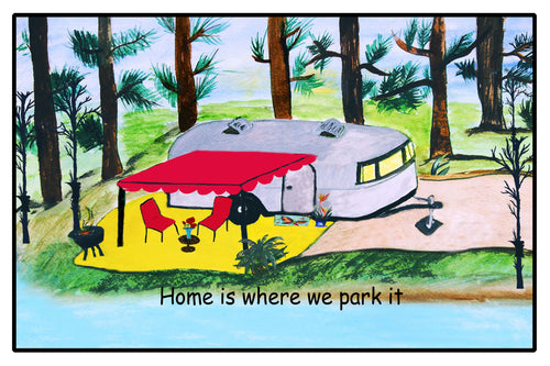 Air stream retro camper by the lake floor mat