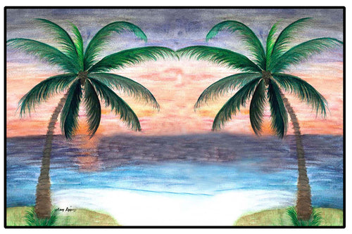 Sunset palm trees coastal floor door mat
