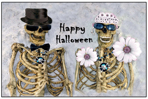 Mr & Ms Skully skeleton Halloween door floor mat.