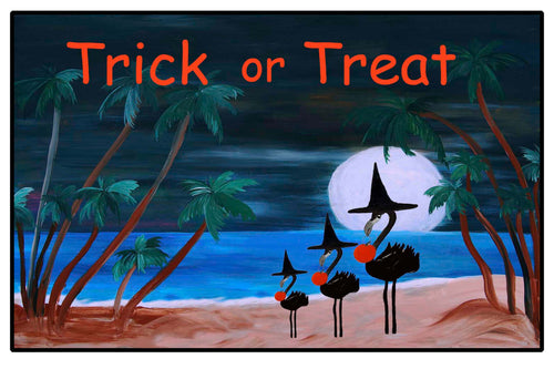 Halloween flamingo trick or tread door floor mat - Maremade Designs