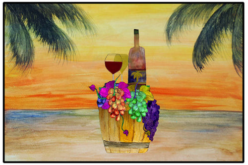 Wine barrel beach sunset wine bar floor mat - Maremade Designs