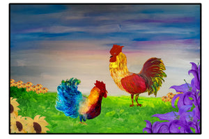Chicken and rooster country field floor mat - Maremade Designs