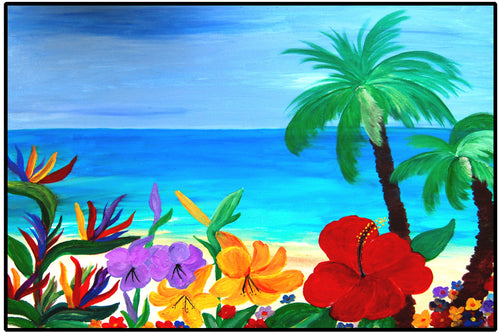 Tropical beach coastal floor door mat - Maremade Designs