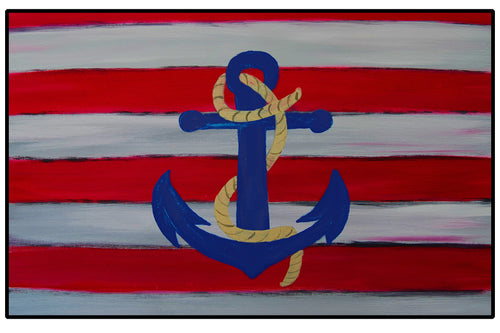 Nautical anchor coastal door floor mat from my art - Maremade Designs