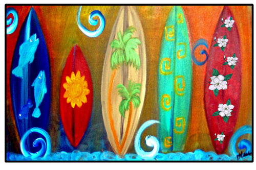 Surfboards beach floor mat - Maremade Designs