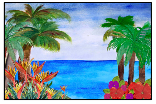 Caribbean tropical beach coastal floor door mat - Maremade Designs