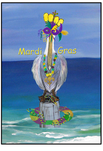 Mardi Gras crowned pelican floor mat from my art. - Maremade Designs