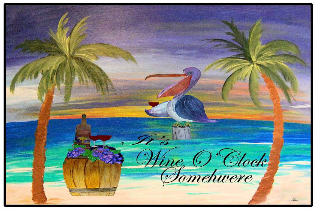 It's wine o'clock pelican wine bar floor mat - Maremade Designs
