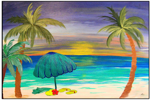 At the beach coastal palm tree floor mat - Maremade Designs