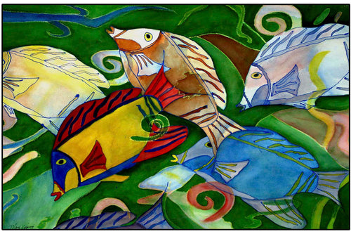Tropical fish school floor mat - Maremade Designs