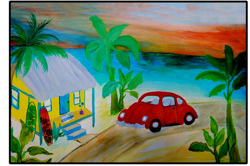 Red VW beach hut coastal floor door mat - Maremade Designs