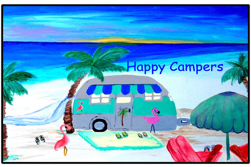 Air stream retro camper by the beach floor mat