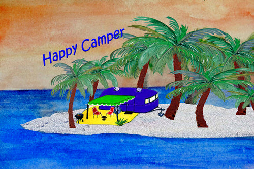 Island retro camper by the beach floor mat - Maremade Designs