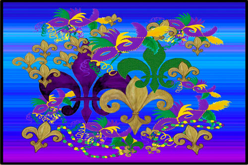 Mardi Gras fleur de lis and masks party floor mat from my art. - Maremade Designs