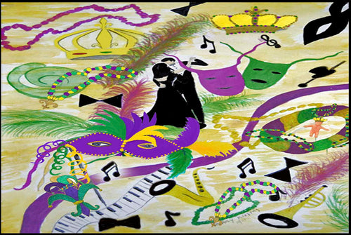 Mardi Gras party floor mat from my art. - Maremade Designs