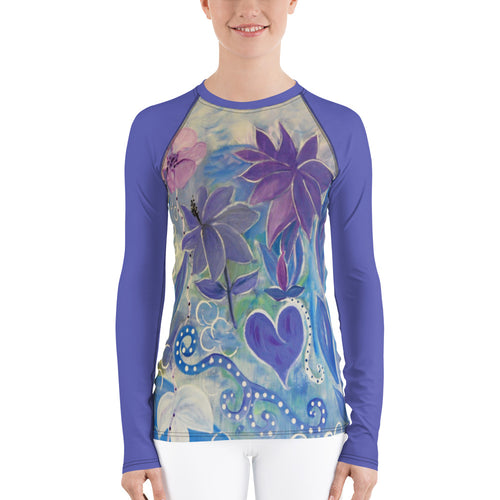 Blue floral Women's Rash Guard t-shirt from my art - Maremade Designs