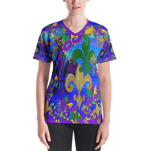 Mardi Gras fleur de lis and masks on blue Women's V-neck - Maremade Designs