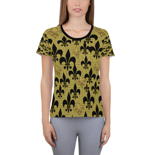 Fleur de lis black and gold All-Over Print Women's Athletic T-shirt from my art. - Maremade Designs