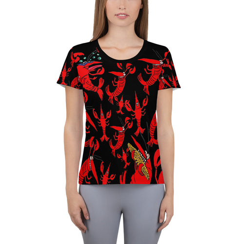 Crawfish/Crayfish party All-Over Print Women's Athletic T-shirt - Maremade Designs