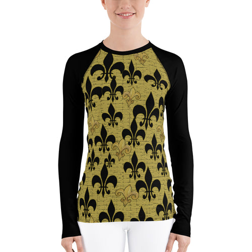 Fleur de lis black and gold with black sleeves Women's Rash Guard - Maremade Designs
