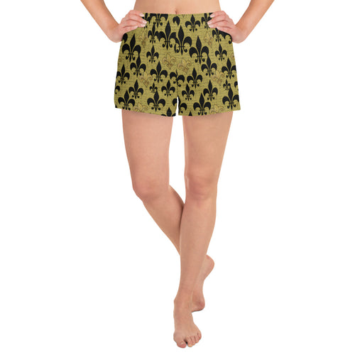 Fleur de lis black and gold Women's Athletic Short Shorts from my art. - Maremade Designs