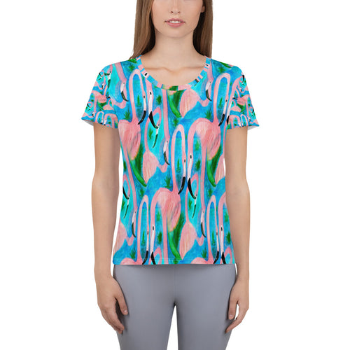 Flamingo party All-Over Print Women's Athletic T-shirt from my art. - Maremade Designs