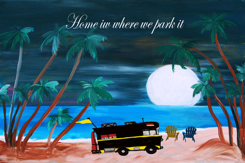 RV camper in the moonlit tropical beach floor mat