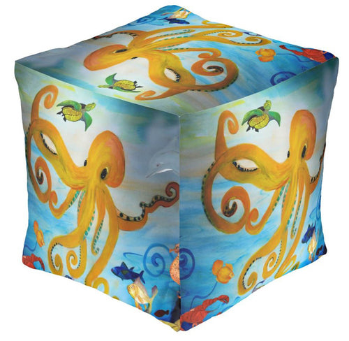 Yellow octopus party coastal beach ottoman or foot stool