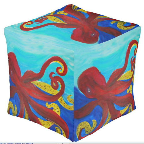 Red giant octopus coastal beach ottoman or foot stool