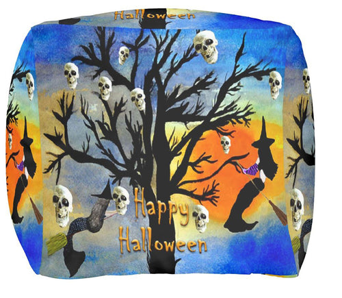 Mermaid witch and skull spooky tree ottoman or foot stool