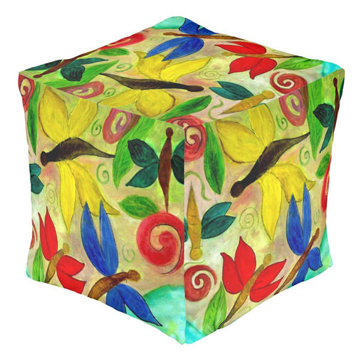 Colorful dragonflies garden ottoman or foot stool - Maremade Designs