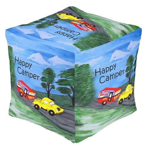 Canned ham retro vintage camper in the country ottoman or foot stool - Maremade Designs