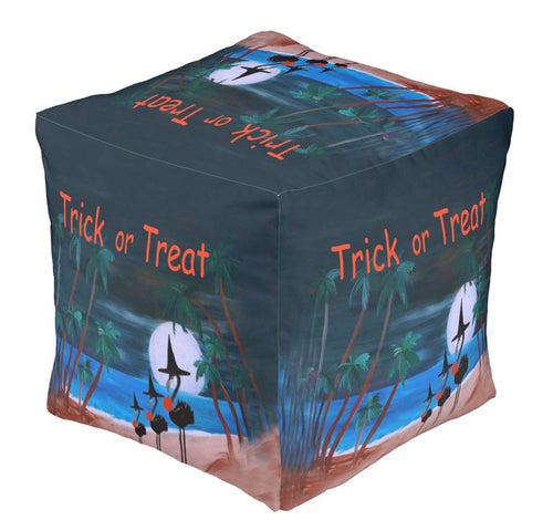 Flamingo witch Halloween trick or treat ottoman or foot stool - Maremade Designs